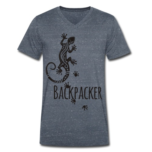 Backpacker - Running Ethno Gecko 1 - Männer Bio-T-Shirt mit V-Ausschnitt von Stanley & Stella