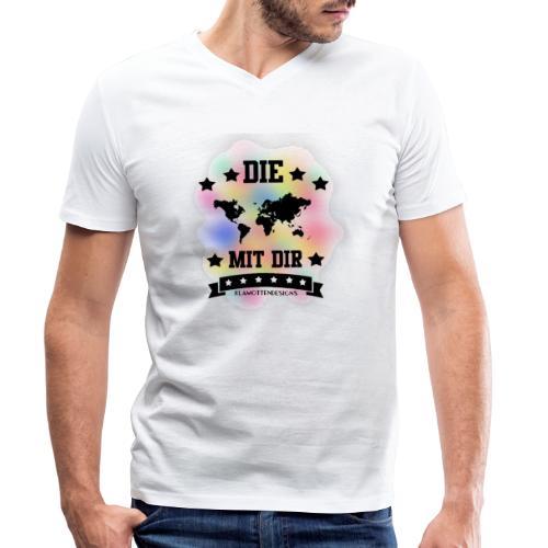 Die Welt mit dir bunt weiss - Klamottendesigns - Männer Bio-T-Shirt mit V-Ausschnitt von Stanley & Stella