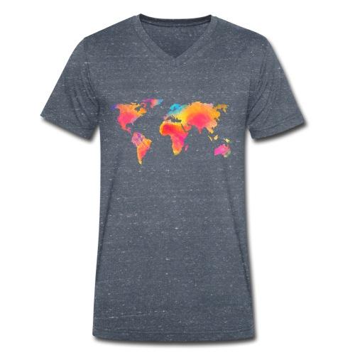 World - Männer Bio-T-Shirt mit V-Ausschnitt von Stanley & Stella