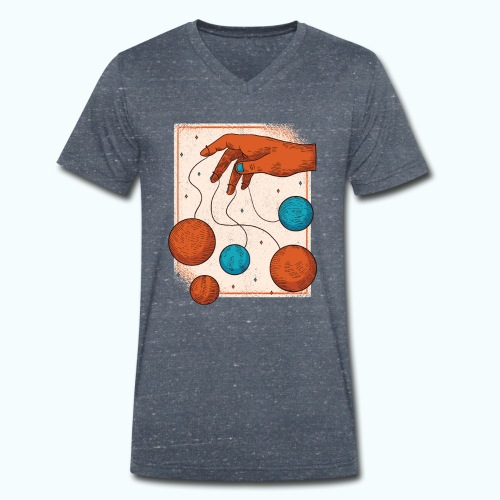 Planets On A String - Men's Organic V-Neck T-Shirt by Stanley & Stella