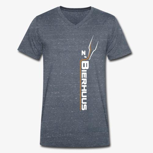 z`Bierhuus Logo weiss Vertikal - Männer Bio-T-Shirt mit V-Ausschnitt von Stanley & Stella