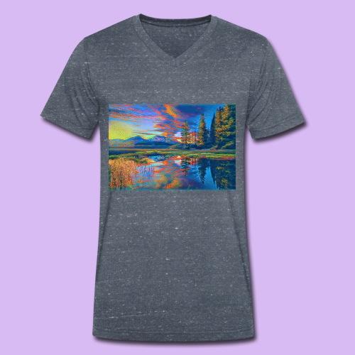 Paesaggio al tramonto con laghetto stilizzato - T-shirt ecologica da uomo con scollo a V di Stanley & Stella