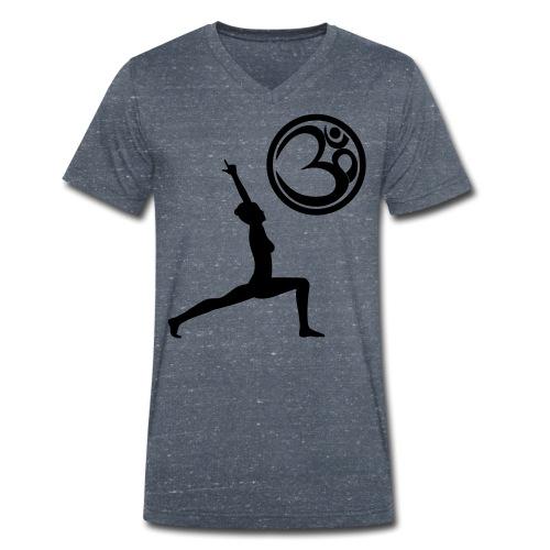 Der Held Yoga Asana Warrior mit OM Symbol Cool - Männer Bio-T-Shirt mit V-Ausschnitt von Stanley & Stella