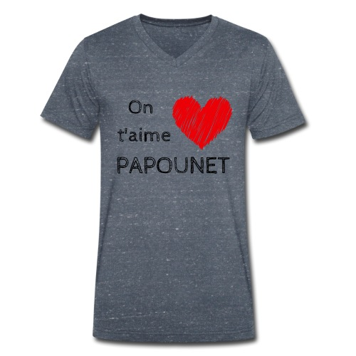 On t'aime papounet - T-shirt bio col V Stanley & Stella Homme