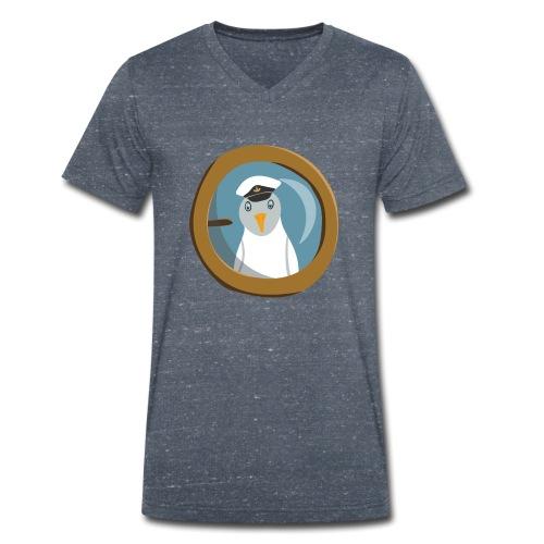 Freche Möwe mit Kapitänsmütze schaut aus Bullauge - Männer Bio-T-Shirt mit V-Ausschnitt von Stanley & Stella