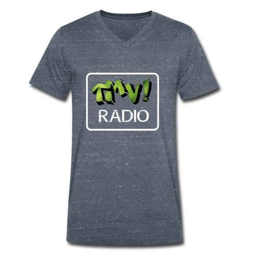 TMV RADIO logo bianco - T-shirt ecologica da uomo con scollo a V di Stanley & Stella