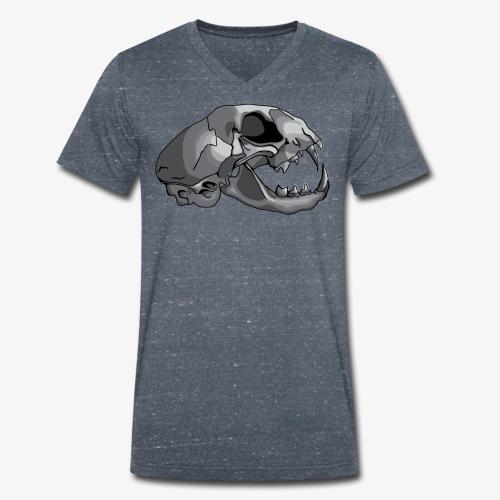 cat skull - Men's Organic V-Neck T-Shirt by Stanley & Stella