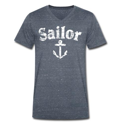 Sailor Anker Segeln Segel Segler (Vintage/Weiß) - Männer Bio-T-Shirt mit V-Ausschnitt von Stanley & Stella