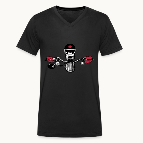 Motard Micky on the Road - T-shirt bio col V Stanley & Stella Homme
