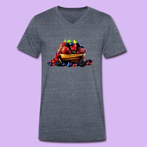 frutti di bosco - T-shirt ecologica da uomo con scollo a V di Stanley & Stella