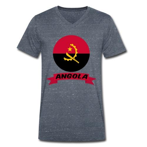 flag of Angola t shirt design ribbon banner - T-shirt ecologica da uomo con scollo a V di Stanley & Stella
