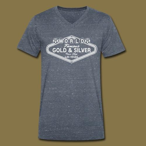World Famous Gold & Silver Pawn Shop Logo - Men's Organic V-Neck T-Shirt by Stanley & Stella