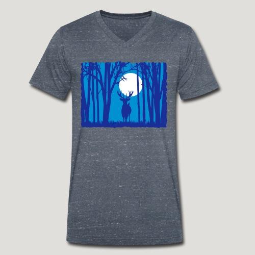 Sonnenuntergang mit Hirsch im Wald Rehbock Natur - Männer Bio-T-Shirt mit V-Ausschnitt von Stanley & Stella