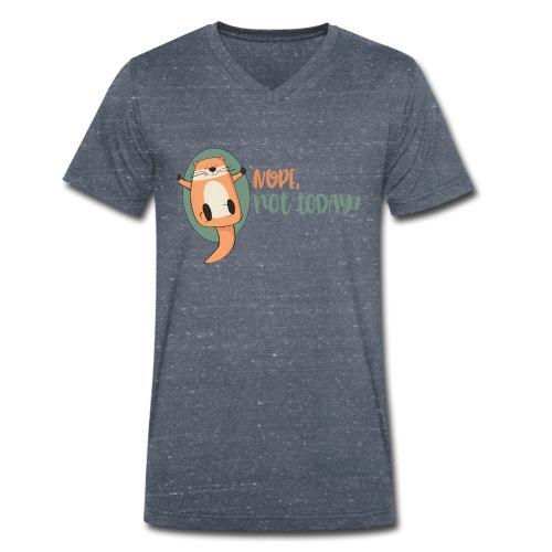 Nope, not today / Nicht mehr heute - Otter schläft - Männer Bio-T-Shirt mit V-Ausschnitt von Stanley & Stella