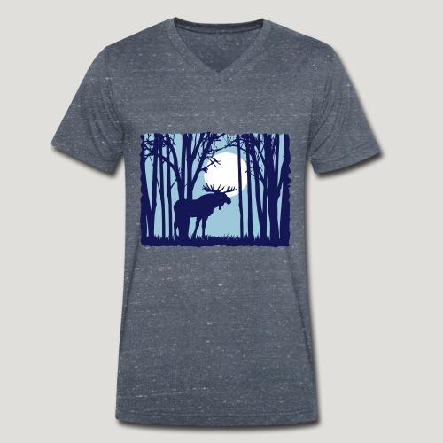 Sonnenuntergang, Elch im Wald, Moose in the woods - Männer Bio-T-Shirt mit V-Ausschnitt von Stanley & Stella