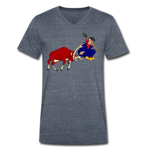 hert vs boer - Mannen bio T-shirt met V-hals van Stanley & Stella