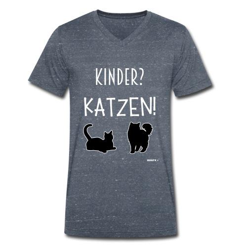 Meine Katzen sind meine Kinder Katzenliebhaber - Männer Bio-T-Shirt mit V-Ausschnitt von Stanley & Stella