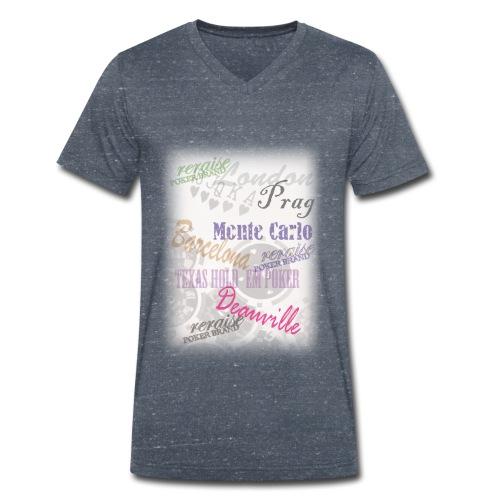 T-Shirt_Poker_Städte - Männer Bio-T-Shirt mit V-Ausschnitt von Stanley & Stella