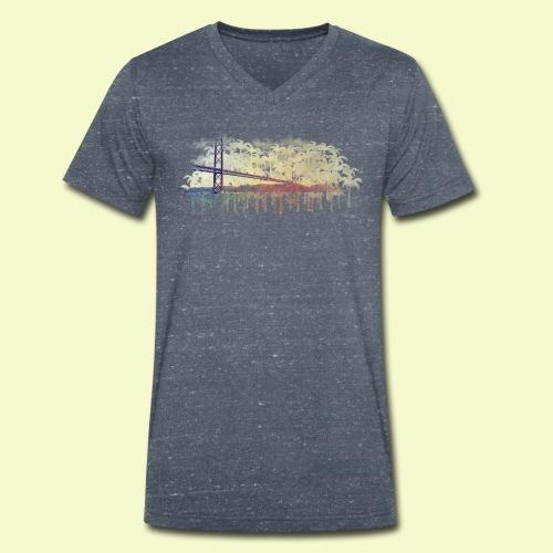 | Almada Brücke Palmen | - Männer Bio-T-Shirt mit V-Ausschnitt von Stanley & Stella