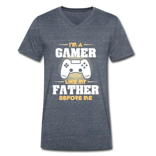 Gamer wie mein Vater Zocker Design & Geschenk - Männer Bio-T-Shirt mit V-Ausschnitt von Stanley & Stella