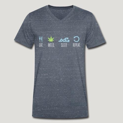 Cannabis Eat Sleep Weed Repeat Gras Marihuana Dope - Männer Bio-T-Shirt mit V-Ausschnitt von Stanley & Stella