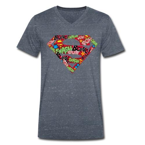 DC Comics Superman Logo Mit Lautmalerei - Männer Bio-T-Shirt mit V-Ausschnitt von Stanley & Stella