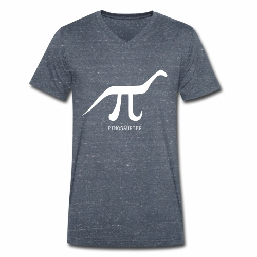 funny nerd geek, pi day, pi, Pinosaur - Men's Organic V-Neck T-Shirt by Stanley & Stella