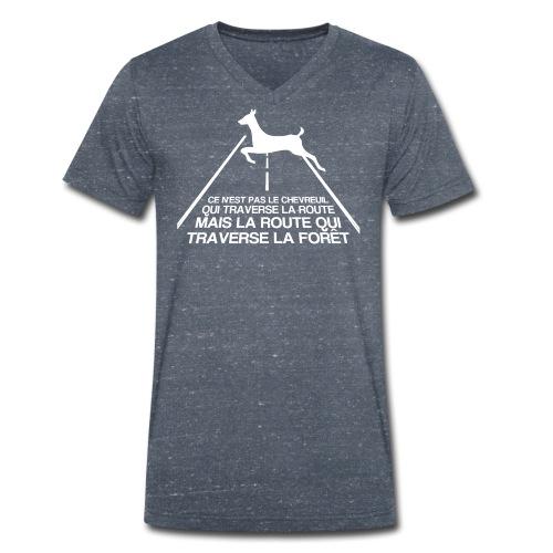 Chevreuil blanc - T-shirt bio col V Stanley & Stella Homme