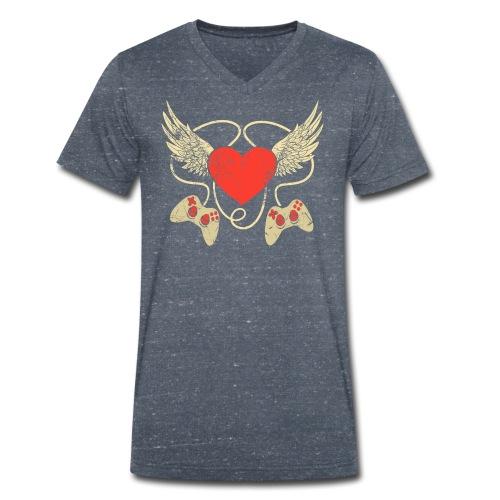 Gamer Herz - Controller - Männer Bio-T-Shirt mit V-Ausschnitt von Stanley & Stella