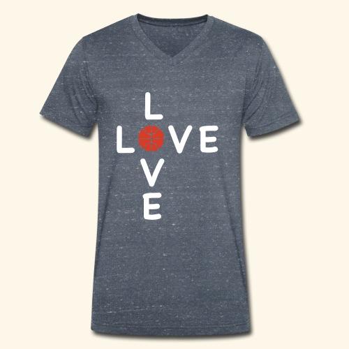 LOVE Cross basketball red 001 - Männer Bio-T-Shirt mit V-Ausschnitt von Stanley & Stella