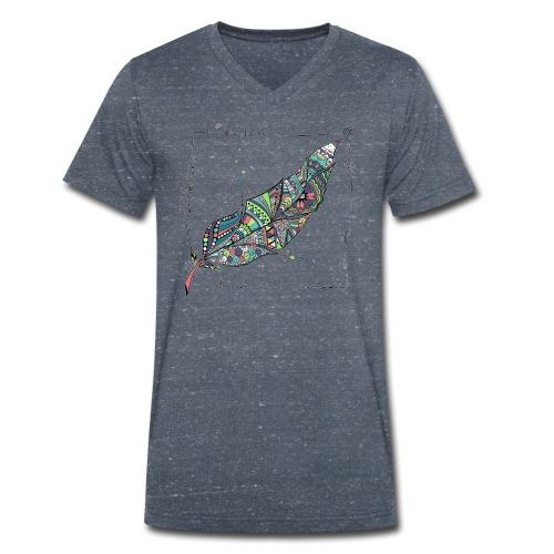 Feder bunt - Männer Bio-T-Shirt mit V-Ausschnitt von Stanley & Stella