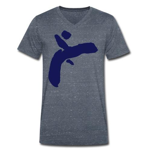 Martial Arts Kick - Slhouette Minimal Wushu Kungfu - Men's Organic V-Neck T-Shirt by Stanley & Stella