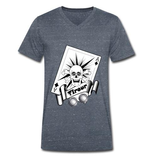 t shirt petanque tireur crane rieur carreau boules - T-shirt bio col V Stanley & Stella Homme
