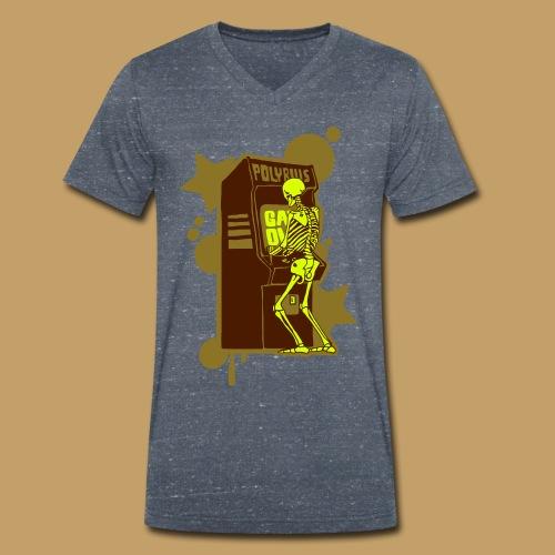 Hi-Score Gold and Neon - Ekologiczna koszulka męska z dekoltem w serek Stanley & Stella