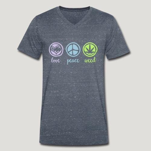 Cannabis Love and Peace and Weed Marihuana Dope - Männer Bio-T-Shirt mit V-Ausschnitt von Stanley & Stella