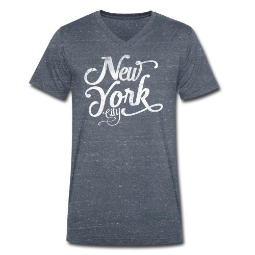 New York City typography - Men's Organic V-Neck T-Shirt by Stanley & Stella