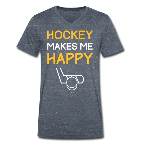 Hockey Makes Me Happy - Men's Organic V-Neck T-Shirt by Stanley & Stella