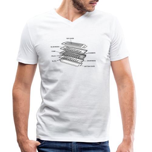 Exploded harmonica - black text - Men's Organic V-Neck T-Shirt by Stanley & Stella