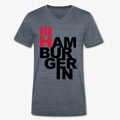 HAMBURGERIN 2c Hamburg Stadt Wappen - Männer Bio-T-Shirt mit V-Ausschnitt von Stanley & Stella
