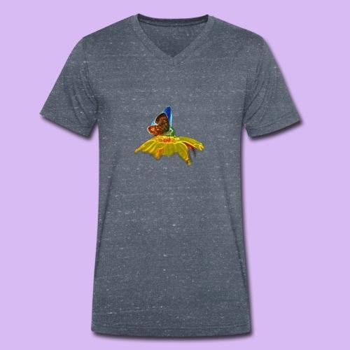 Farfalla su corolla - T-shirt ecologica da uomo con scollo a V di Stanley & Stella