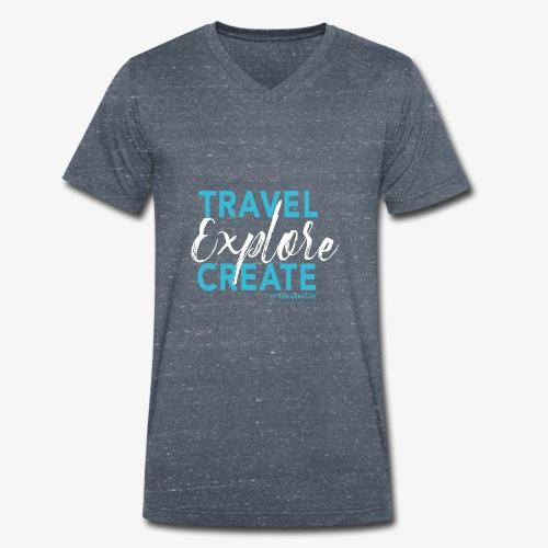 Travel explore create hellblau weiss - Männer Bio-T-Shirt mit V-Ausschnitt von Stanley & Stella