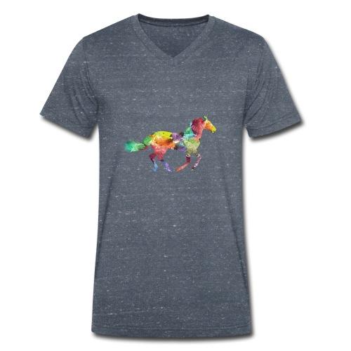 Rainbow Pferd - Männer Bio-T-Shirt mit V-Ausschnitt von Stanley & Stella