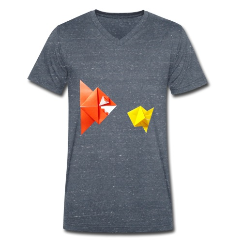 Origami Piranha and Fish - Fish - Pesce - Peixe - Men's Organic V-Neck T-Shirt by Stanley & Stella