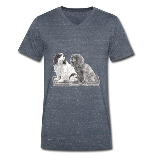 Cavalier King Charles spaniels - Økologisk Stanley & Stella T-shirt med V-udskæring til herrer