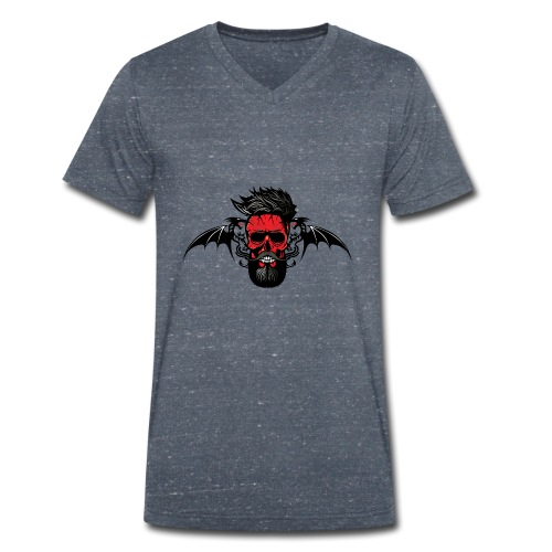 tete de mort hipster dragon tribal skull barbu mou - T-shirt bio col V Stanley & Stella Homme