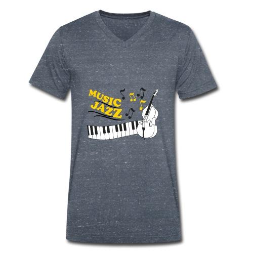 music jazz con piano e contrabbasso - T-shirt ecologica da uomo con scollo a V di Stanley & Stella