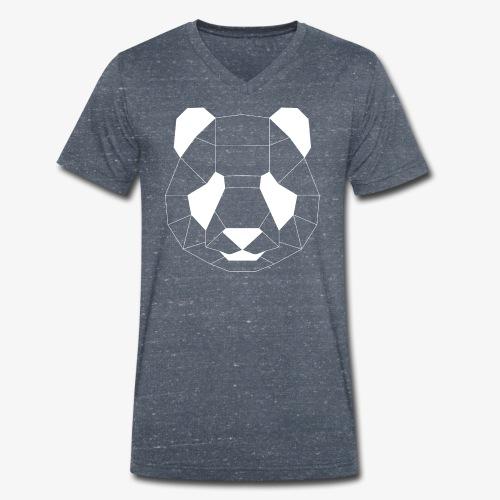 Panda Geometrisch weiss - Männer Bio-T-Shirt mit V-Ausschnitt von Stanley & Stella