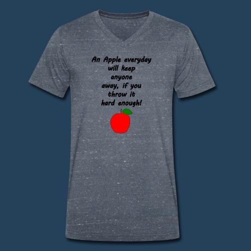 Lustiger Apfelspruch - Männer Bio-T-Shirt mit V-Ausschnitt von Stanley & Stella