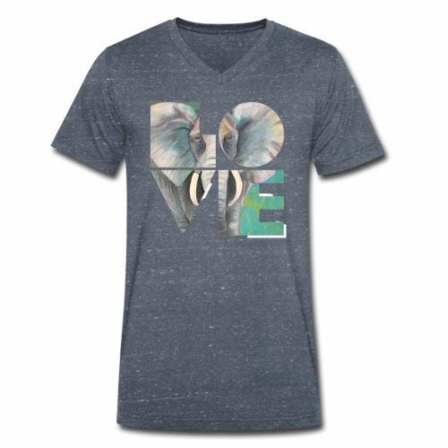 Elefant der Liebe - Männer Bio-T-Shirt mit V-Ausschnitt von Stanley & Stella
