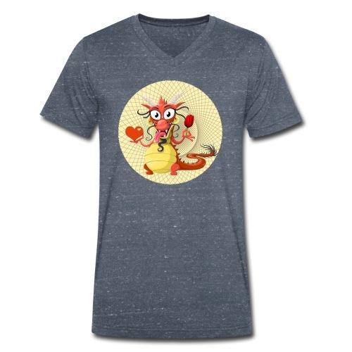 Asia Drache mit Herz - Männer Bio-T-Shirt mit V-Ausschnitt von Stanley & Stella